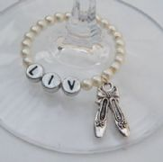 Ballet Shoes Personalised Wine Glass Charm - Full Bead Style